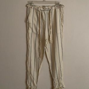 Striped Paperbag Waist Tie Trousers